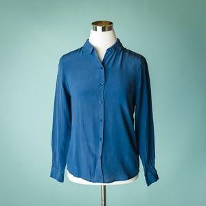 Everlane XS Blue Silk Long Sleeve Career Top